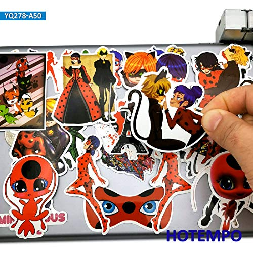 BLOUR 50 Piezas Cute Ladybug Girl Cat Noir Anime Stickers Juguetes para niñas Niños Scrapbook Teléfono móvil Laptop Suitcase Cartoon Decal Sticker