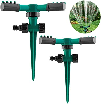 2 Pack Garden Sprinkler,Automatic Lawn Sprinkler 360 Degree Rotating Lawn Sprinkler Automatic Irrigation 3600 Square Feet Coverage for Yard ,Lawn and Garden,Weighted Gardening Watering System (Green)