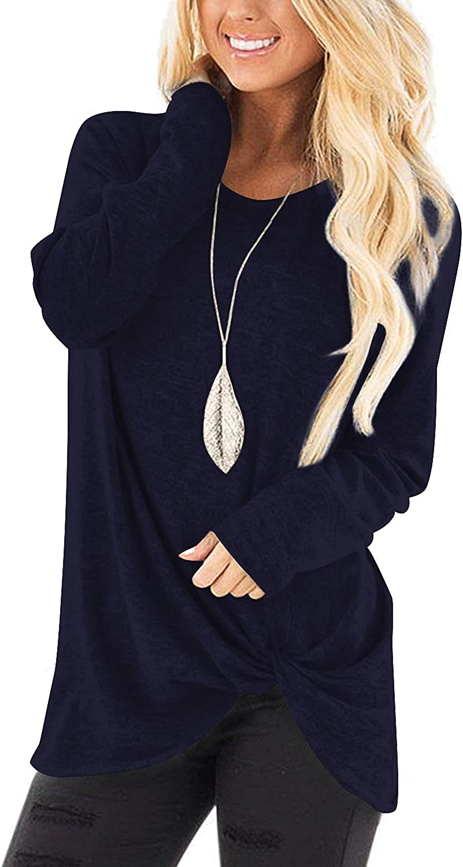 NILOUFO Womens Long Sleeve T Shirts Cute Casual Blouses Twist Knot Tunic Tops