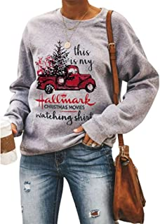 Women This is My Hallmark Christmas Movie Watching Sweatshirt Holiday Vacation Pullover Blouse Tops (Gray, M)