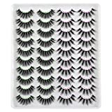 Ruairie 20 Pairs False Eyelashes Fluffy Natural Volume 3D Fake Eyelashes Bulk Wholesale Faux Mink Lashes Pack 2 Styles