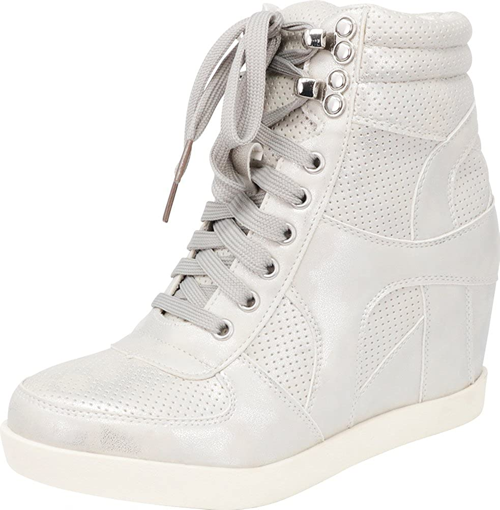 Cambridge Select Women's Lace-Up High Top Closed Toe Perforated Hidden Wedge Fashion Sneaker
