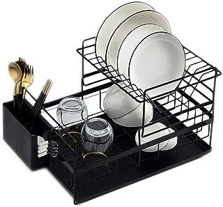 Égouttoir à Vaisselle de Cuisine Égouttoir à Vaisselle Détachable à 2 Niveaux avec porte-ustensiles de Plateau d'eau pour ...