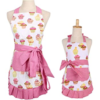 Cotton Mommy Daughter Apron with Pocket,Cupcake Apron,Kitchen Aprons for Home Baking or Cooking