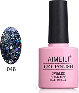 AIMEILI Soak Off UV LED Gel Nail Polish - Diamond Glitter Amethyst Purple (046) 10ml