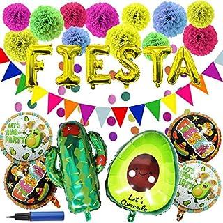 27 تکه لوازم تزئینات مهمانی Cinco De Mayo Fiesta با بادکنک های کاکتوس آووکادو فیستا ، گلهای کاغذی Pom Tissue ، پرچم های مثلثی ، گلدسته کاغذ دایره ای ، بنر Backdrop برای Cinco De Mayo ، جشن مسیحی یا مهمانی یا جشنواره ها