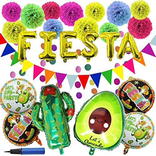27 PCS Cinco De Mayo Fiesta Party Decoration Supplies with Cactus Avocado Fiesta Balloons, Tissue Pom Paper Flowers, Triangular pennants, Circle Paper Garland, Backdrop Banner for Cinco De Mayo, Mexican Theme Fiesta or Party or Festivals