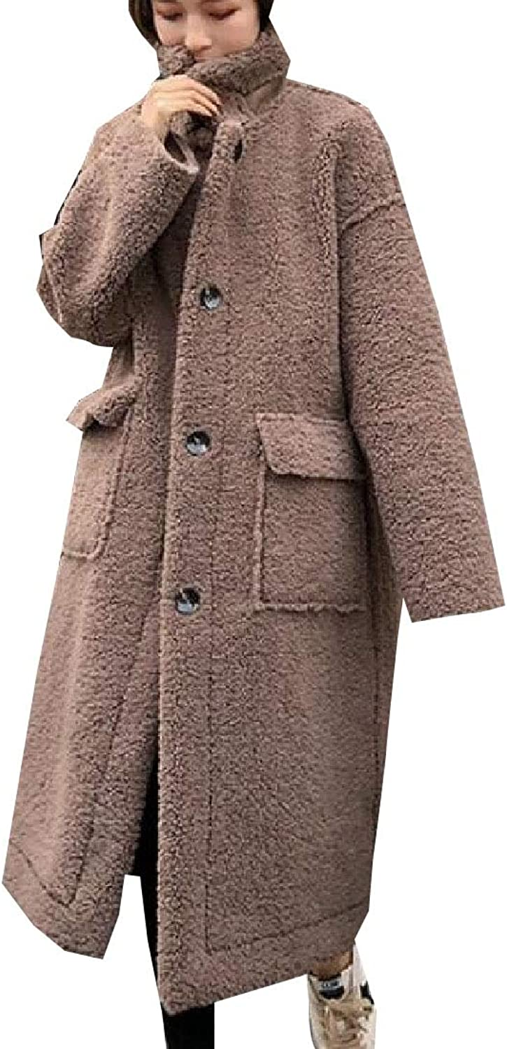 Desolateness Women's Winter Warm Coat Fleece Maxi Oversize Outwears Coats Loose Fit
