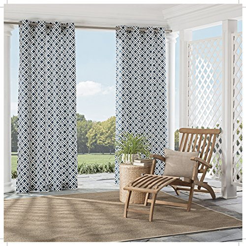 PARASOL Indoor/Outdoor Curtains for Patio - St Kitts 52' x 84' Thermal Insulated Single Panel Grommet Top Light Blocking Water Resistant Curtain Shade for Backyard, Indigo