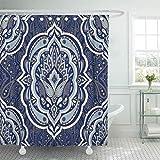 Tenda per doccia in Poliestere impermeabile Tessuto Floreale indiano Motivo Paisley Fiore Vintage Etnico per tappeto Persiano con Set con ganci tende da bagno Decorative