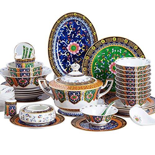 Juego de cena fino, juego de cena de cerámica del plato de cena, juegos de vajilla de esmalte de lujo de porcelana de hueso de 50 piezas |Olla / Plato / Tazón De Sopa - Juego De Combinación De Porcel