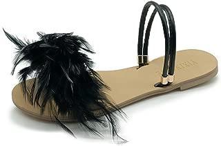 Fur Sandals Ostrich Fur Slippers Candy Color Sandalias Mujer Flat Sandal