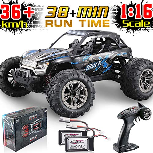 Soyee 1:16 RC Cars for Boys IPX4 Waterproof High Speed 36KM/h 4WD Off Road 2.4GHz Remote Control Monster Truck Dune Buggy Hobby RC Toys for Kids & Adults - 1000mAh Battery x2 for 38+mins Playing