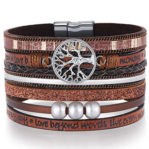 Grandma Gifts from Granddaughter Grandson Wrap Around Boho Buckle Stacking Multilayer Leather Wide Magnetic layered Bracelet,Tree of Life Bracelets Christmas Gifts for Women Mom Grandma