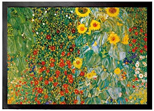 1art1 Gustav Klimt - Bauerngarten Mit Sonnenblumen, 1905-06 | Fußmatte Innenbereich und Außenbereich | Design Türmatte 70 x 50 cm
