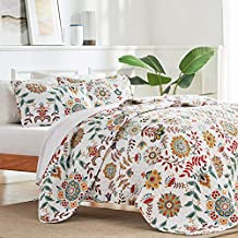 SLEEP ZONE 2-Piece Printed Quilt Set - Twin Size (1 Pillow Sham) - Lightweight Reversible Bedding Coverlet Set for All Season (Classic Floral Pattern)
