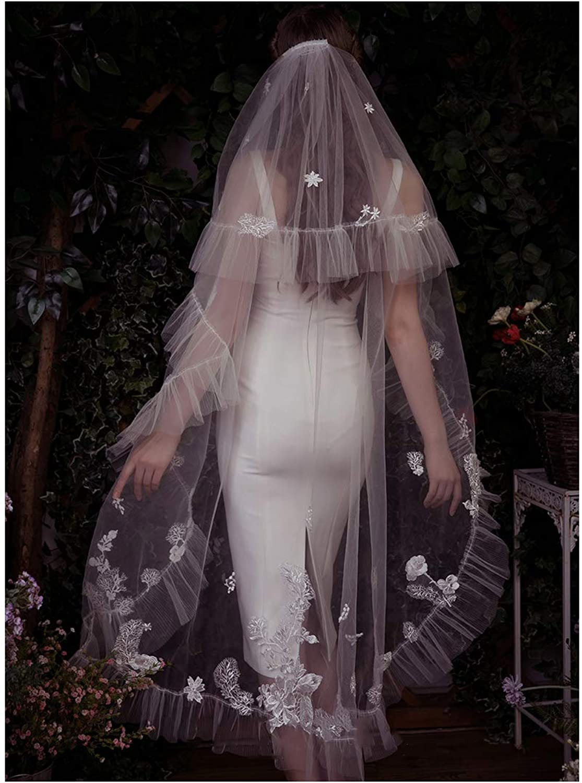 Fenghuavip 2 Tier Court Wedding Veil 2M 3M Ruffles Bridal Veil with Free Comb