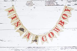 It's A Cowboy Banner for Western Baby Shower or Gender Reveal Party Décor