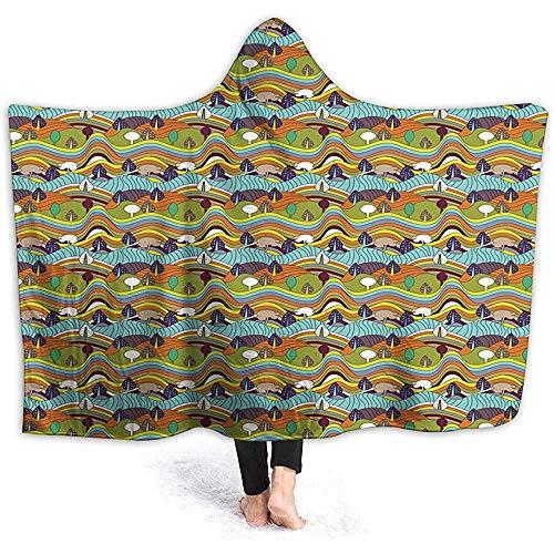 Auld-Shop Hooded Blanket Hood Cloak Cape-Decke, Bunte Panoramische Hügel Mit Getönten Idyllischen Klaren Gebirgspastellbaum-Motiven