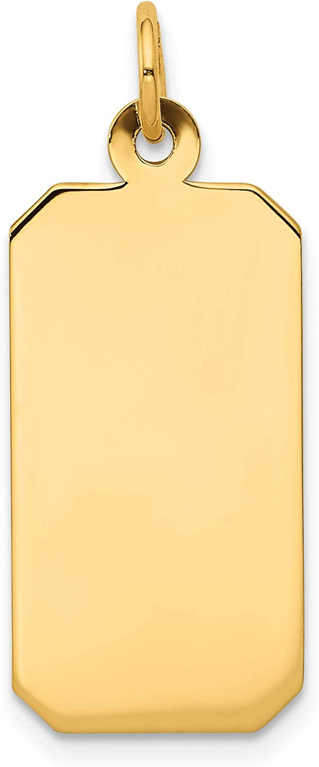 Mireval 14k Yellow Gold Plain Gauge Industry No. 1 Rectangular Engravable Quantity limited .011