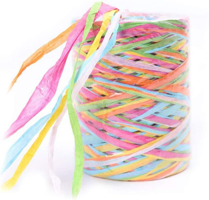 262 Feet/80m Colored Raffia Paper Ribbon, 6 Colors Raffia Paper String Paper Craft Ribbon for Gift Wrapping Party Decor and DIY Decoration (D)