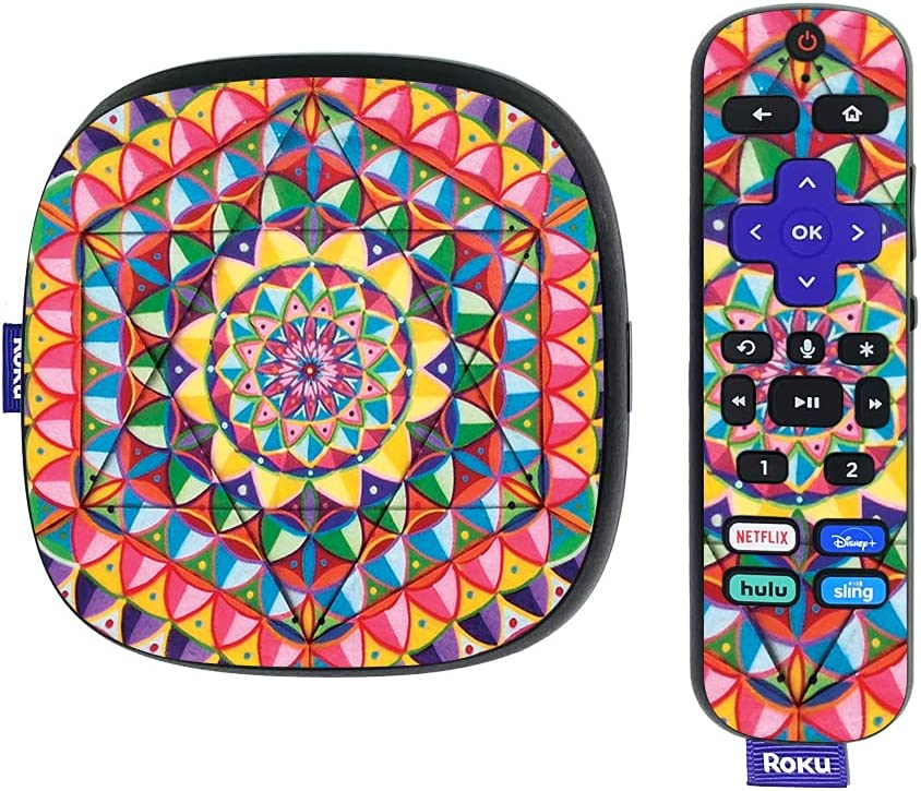 MightySkins Skin Compatible with Roku Ultra HDR 4K Streaming Media Player (2020) - Rainbow Kaleidoscope   Protective, Durable, and Unique Vinyl Decal wrap Cover   Easy to Apply   Made in The USA