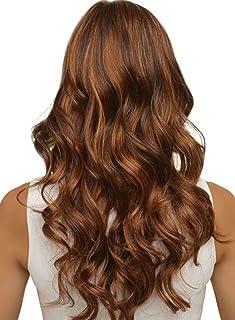 Yofeel woman girl fashion long straight brown cosplay wig