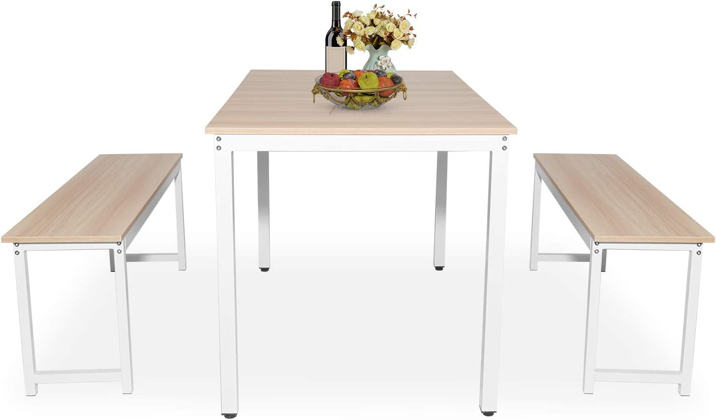Hooseng Dining Room 3 Albuquerque Mall Pieces Farmhouse with Table Set Max 49% OFF T Kitchen