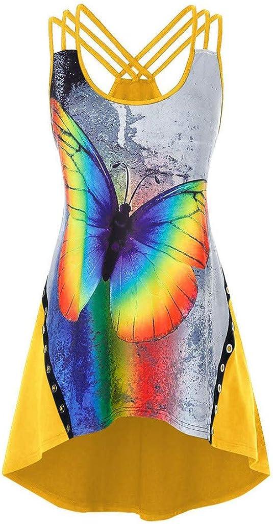 FABIURT Summer Tank Tops for Women, Womens Fashion Printed Sleeveless T-Shirt Open Back Cross Tank Top Loose Vest Blouse