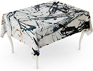 Tarolo Rectangle Tablecloth 60 x 102 Inch Red Modern Abstract Creative Hand Watercolor Pollock Jackson Contemporary Paint Expressionism Table Cloth