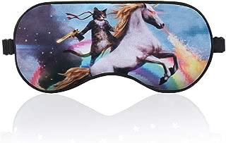 BYBART Sleep Mask, Soft & Comfortable Eye Mask with Adjustable Head Strap Light Blocking Eye Cover for Kids Women Men - Unicorn and Cat