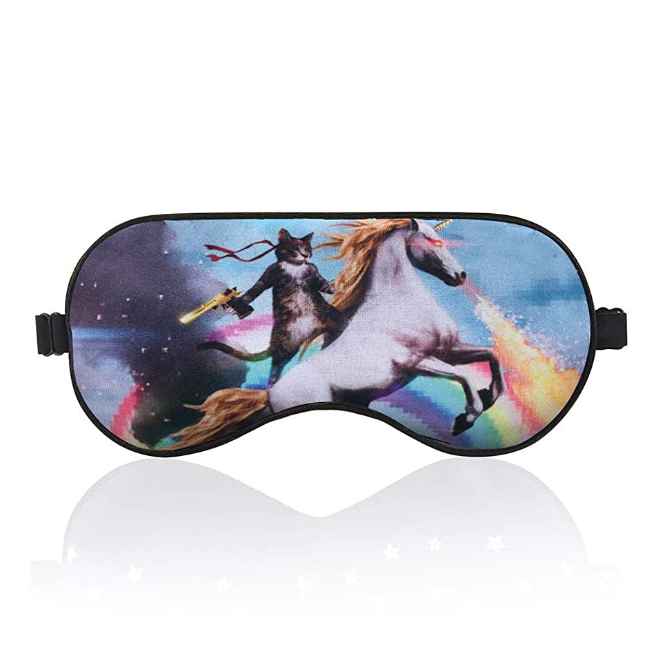 BYBART Sleep Mask, Soft & Comfortable Eye Mask with Adjustable Head Strap Light Blocking Eye Cover for Kids Women Men - Unicorn and Cat