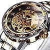 腕時計、メンズ腕時計 機械式 クラシック 高級 ファッション メカニカル ステンレススチールウォッチ スケルトン 防水 ホロー スチームパンク ドレス時計 ゴールド
