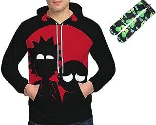 GideonH Rick & Morty Men's Pullover 3D Anime Hoodie Sweatshirt Unisex, Free Socks (05, US Small/Tag Medium)