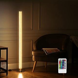 EDISHINE Lampadaire à LED RVB avec télécommande, lampe sur pied en cristal avec changement de couleur RVB en chrome, inten...