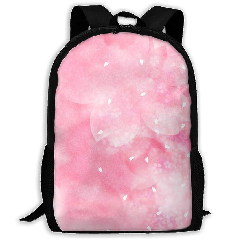 Unisex School Bag Outdoor Casual Shoulders Backpack New White Pink Flower Travel Daypacks for Women Men Kids
