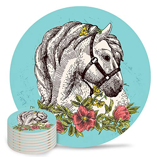Animal Coaster for Drinks Sets- Ceramic Absorbent Coasters with Cork Base Stone Coasters Set for Birthday Housewarming Boho Style Horse Poppy Wreath Equestrian Illustration