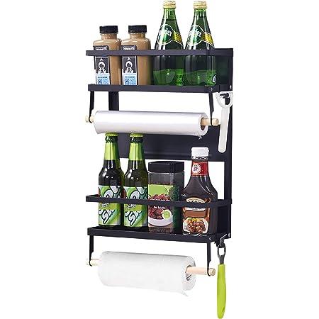 XIAPIA Etagère Réfrigérateur Etagere Magnetique Frigo Étagère à Épices Supports pour Papier Essuie-Tout avec Porte Organisateur de Réfrigérateur Rangement Cuisine Présentoir Salle de Bain Noir