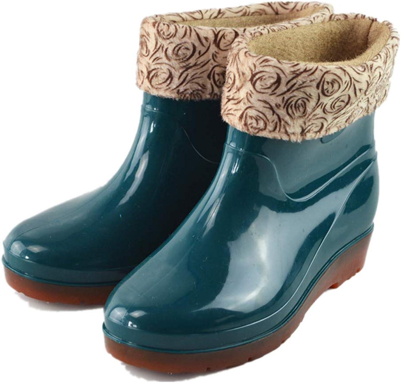 Super color Women's No-Slip Warm Rain Boots Waterproof Rubber Outdoor Work Garden Short Snow Boots