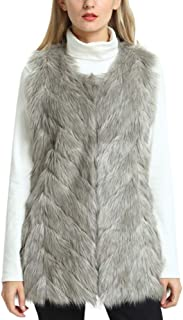 YIDUODE Faux Fur Winter Vest, Women's Fashion Sleeveless Fluffy Snaggy Soft Warm Coat