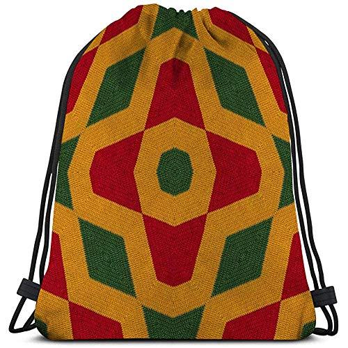 BOUIA Turnhalle Kordelzug Taschen Sackpack Reggae Farben häkeln gestrickte Stil Draufsicht Collage Spiegel Reflexion Raute Nahtlose Kaleidoskop Montage