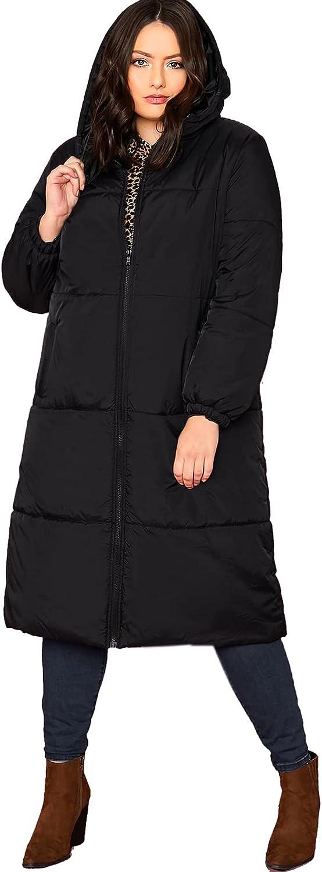 Dzyoleize Plus Size Womens Long Puffer Jacket Cotton Hooded Parka Coat Outwear Winter Warm Maxi Puffer Coat Parka Jacket