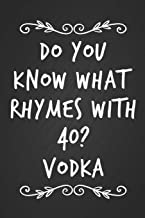 Do You Know What Rhymes With 40? Vodka: Funny Novelty 40th Birthday Notebook Blank Lined Journal Adult Drinking Humor Gag Gift Fun and Practical Alternative to a Birthday Card
