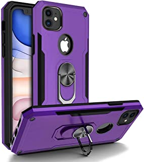 BGWIRELESS Heavy Duty Military Grade iPhone 11 Case, with Ring Car Mount Kickstand 15ft Drop Tested Protective Case, Heavy Duty Defender Metal Dropproof Shockproof Dirtproof Waterpproof, Purple
