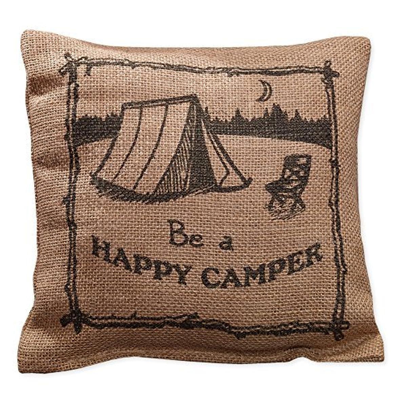 漫画実際にビットBe A Happy Camper Small Burlap Pillow 8