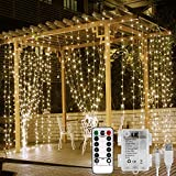 Lepro Fairy Curtain Lights Battery Operated, USB Powerd Indoor Outdoor Gazebo Lights, 3m x 3m 300 LED Warm White String Lights, Timer, 8 Modes, Remote Control, Suit for Bedroom, Garden, Party and More