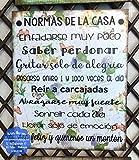 Cuadro de madera con frases y mensajes positivos e inspiradores'Normas de la casa'