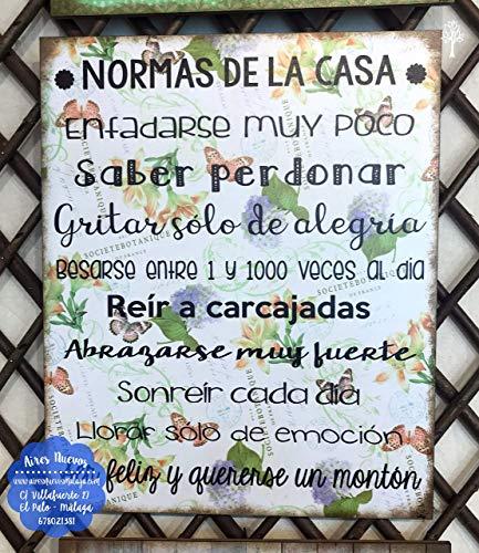 """Cuadro de madera con frases y mensajes positivos e inspiradores\""""Normas de la casa\"""""""