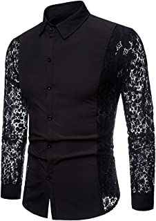 INVACHI Men's Sexy Fishnet Button Down Shirts See Through Lace Sheer Shirts