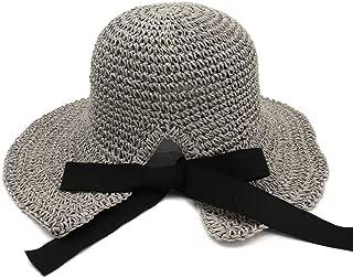 Lady's Sun hat Handmade Crochet Spring Summer Straw Hat Women Fold Outside Sunscreen Beach Hat Visor Big Hat Sun hat (Color : Gray, Size : 56-58CM)